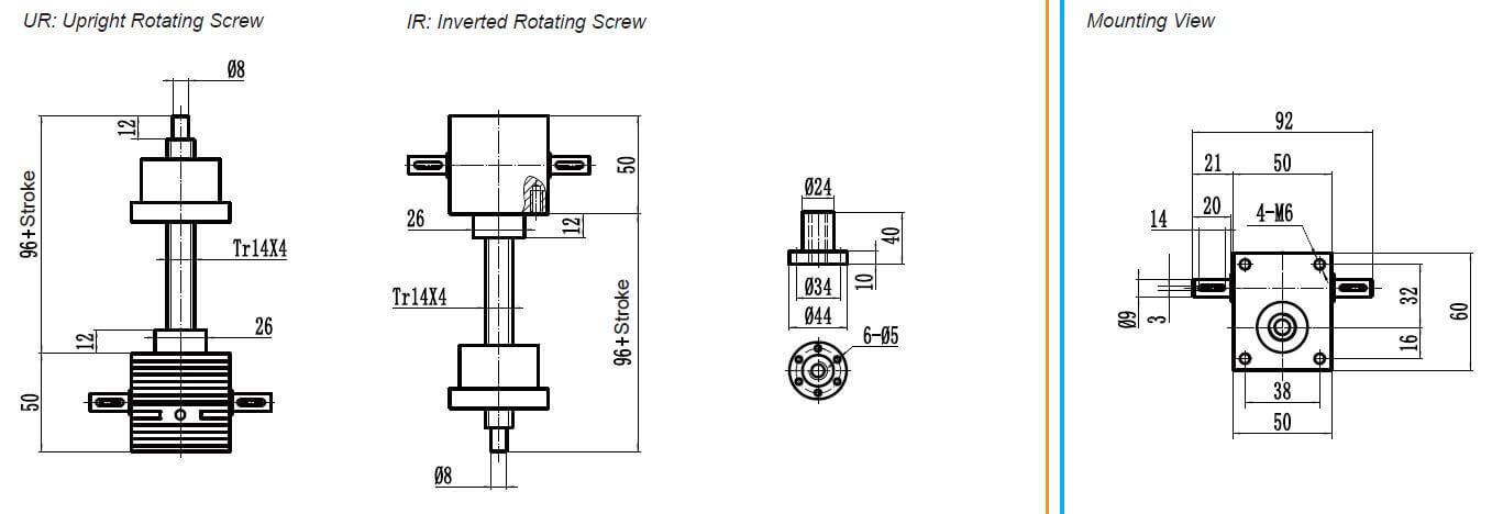 small screw jack rotating nut screw jack